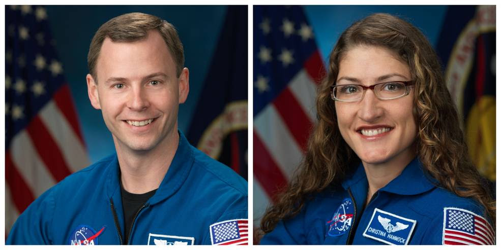 NASA astronauts Nick Hague (left) and Christina Hammock Koch (right) will participate in a news conference about their upcoming mission to the International Space Station. Hague, Koch and Alexey Ovchinin of the Russian space agency Roscosmos are scheduled to launch Feb. 28, 2019, from the Baikonour Cosmodrome in Kazakhstan for a mission to the International Space Station as members of Expeditions 59 and 60.<br />Credits: NASA