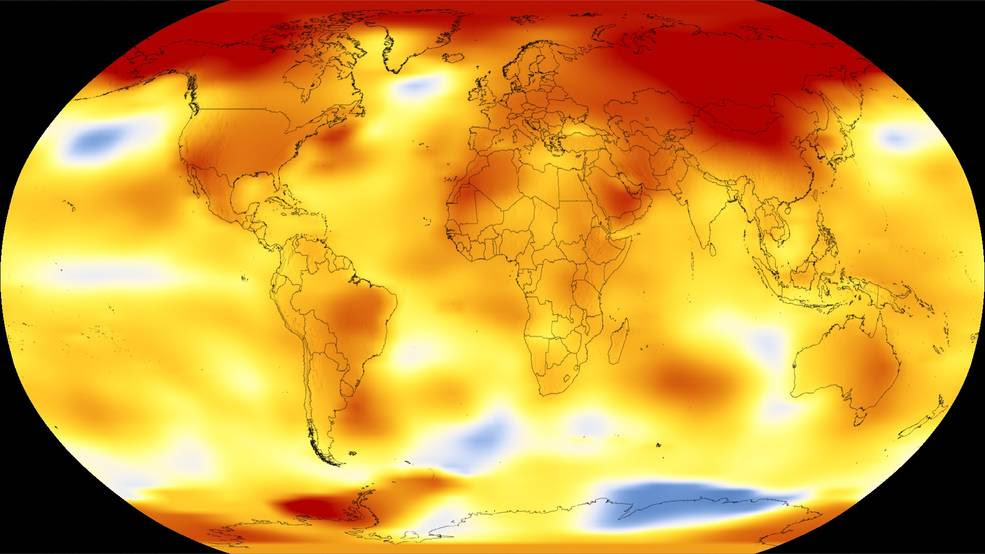 Shown here are 2017 global temperature data: higher than normal temperatures are shown in red, lower than normal temps in blue<br />NASA and NOAA are two keepers of the world's temperature data and independently produce a record of Earth's surface temperatures and changes. Shown here are 2017 global temperature data: higher than normal temperatures are shown in red, lower than normal temperatures are shown in blue.<br />Credits: NASA's Scientific Visualization Studio