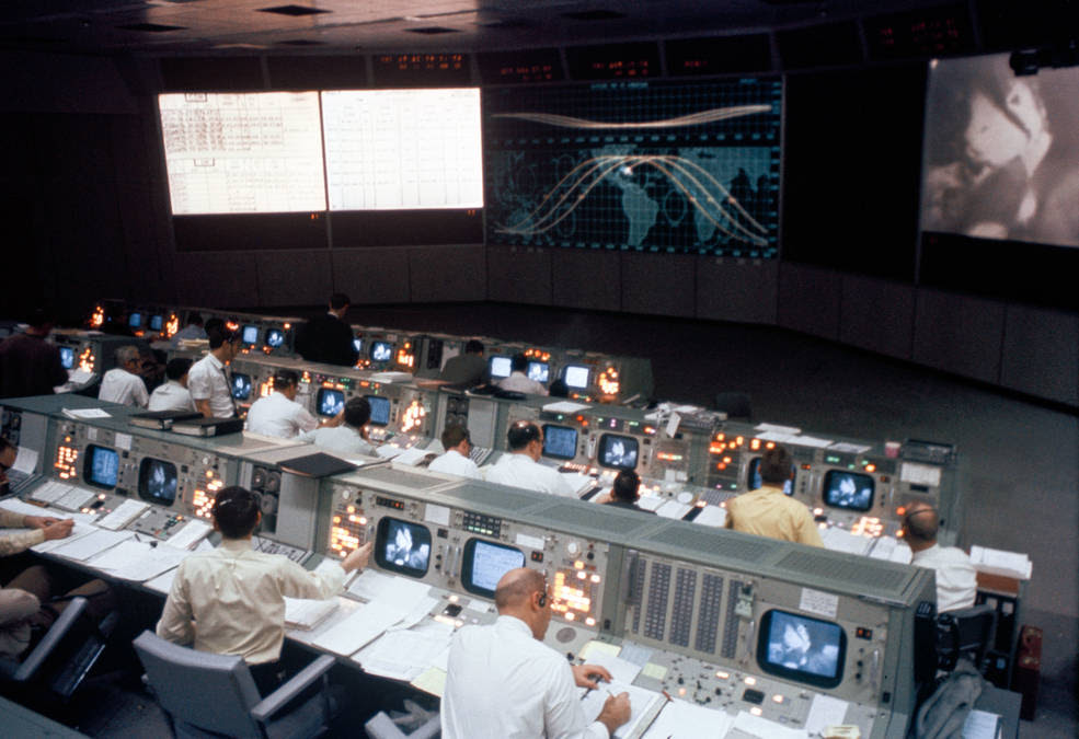 Mission Operations Control Room in the Apollo Mission Control Center at NASA's Johnson Space Center in Houston<br />Credits: NASA